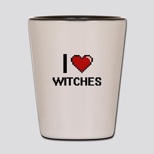 I love Witches digital design Shot Glass